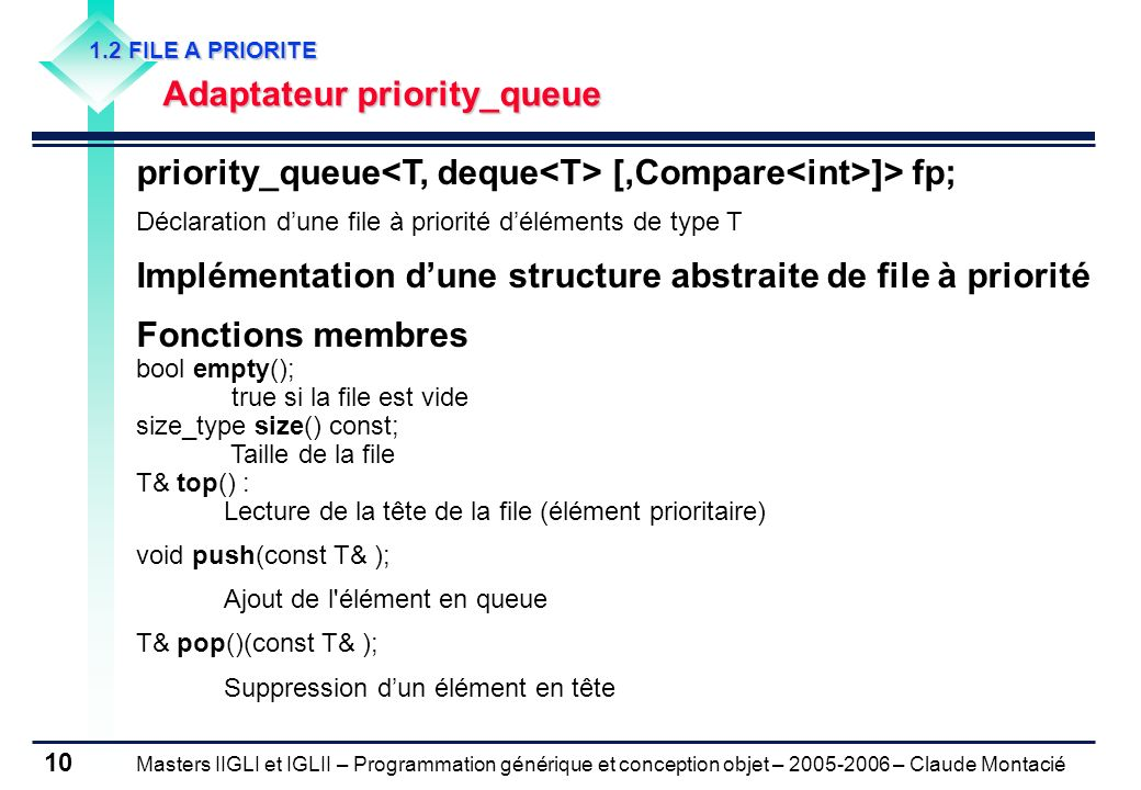 priority_queue<T, deque<T> [,Compare<int>]> fp;